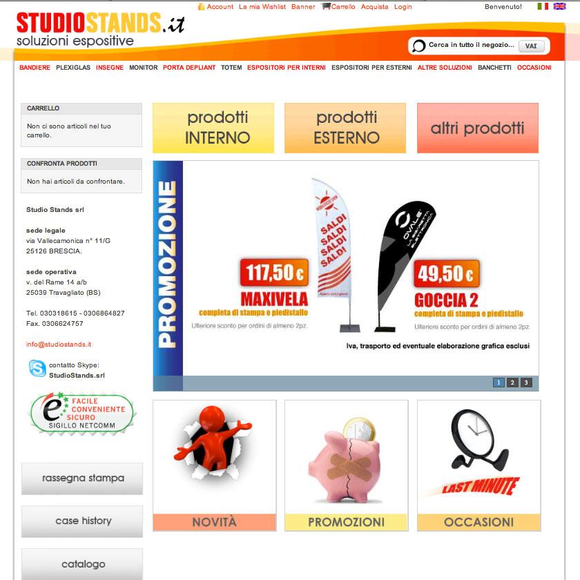Schermata e-commerce Studio Stands