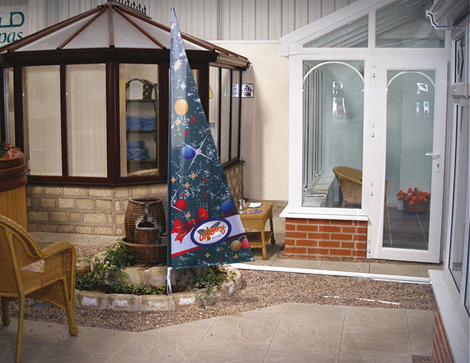 Allestimento Bandiera pubblicitaria Pitagora natalizia