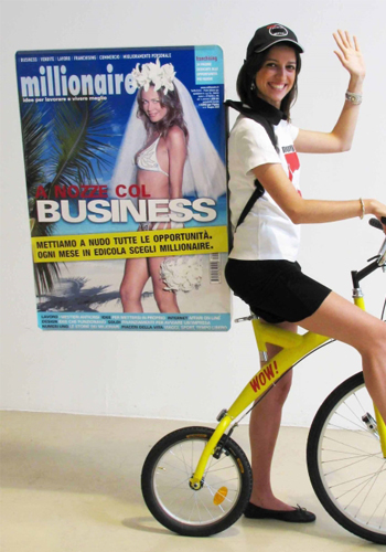 Pubblicità dinamica su bicicletta