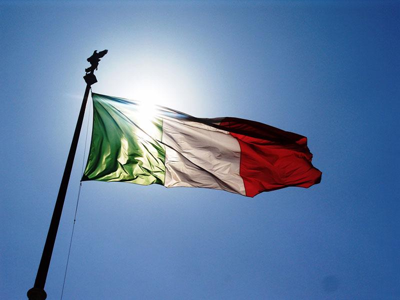 Bandiera istituzionale con fissaggio a pennone