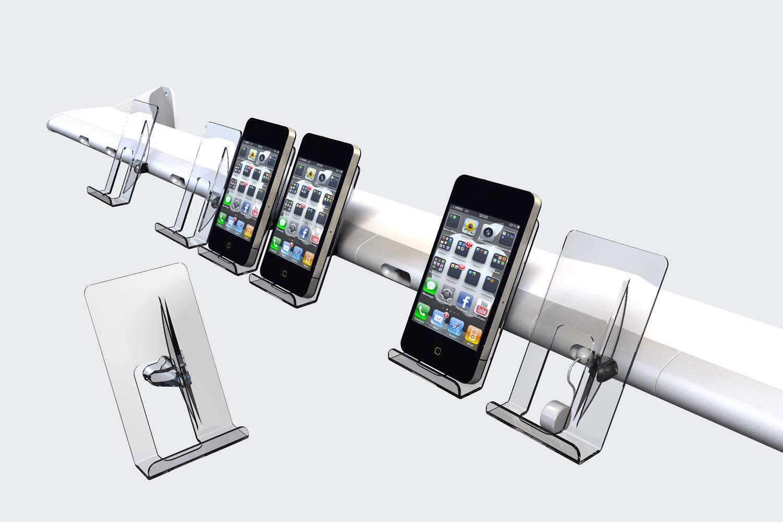 Espositori telefonini smartphone con sistema antitaccheggio Superfluo