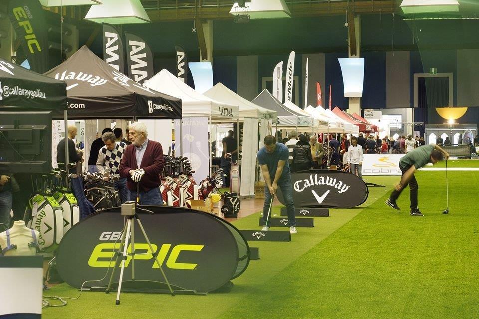 gazebo e bandiere pubblicitarie a Parma Golf Show