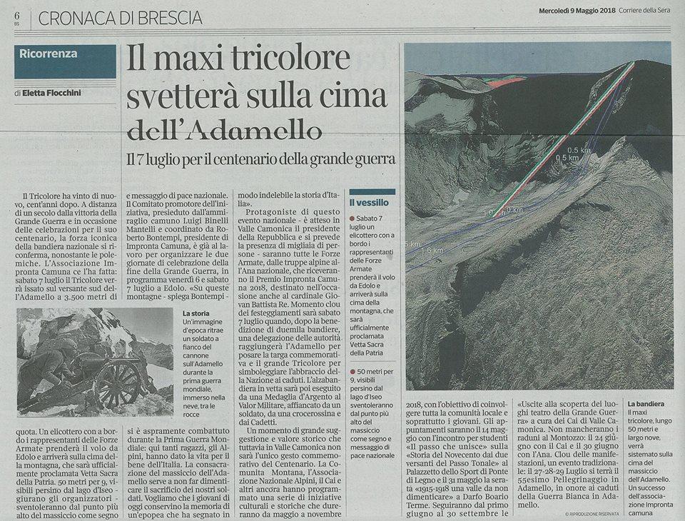 Articolo del Corriere della Sera - Maxi tricolore sulla cima dell'Adamello