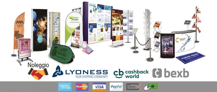Soluzioni espositive in cashback world, barter, acquisto e noleggio