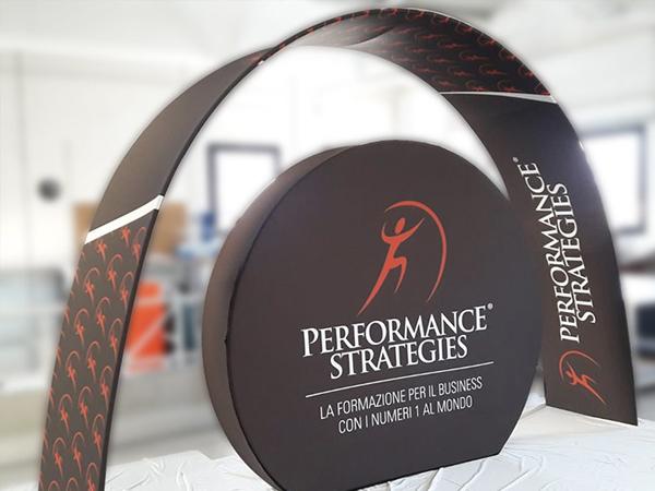 Arco personalizzato con stampa su tessuto