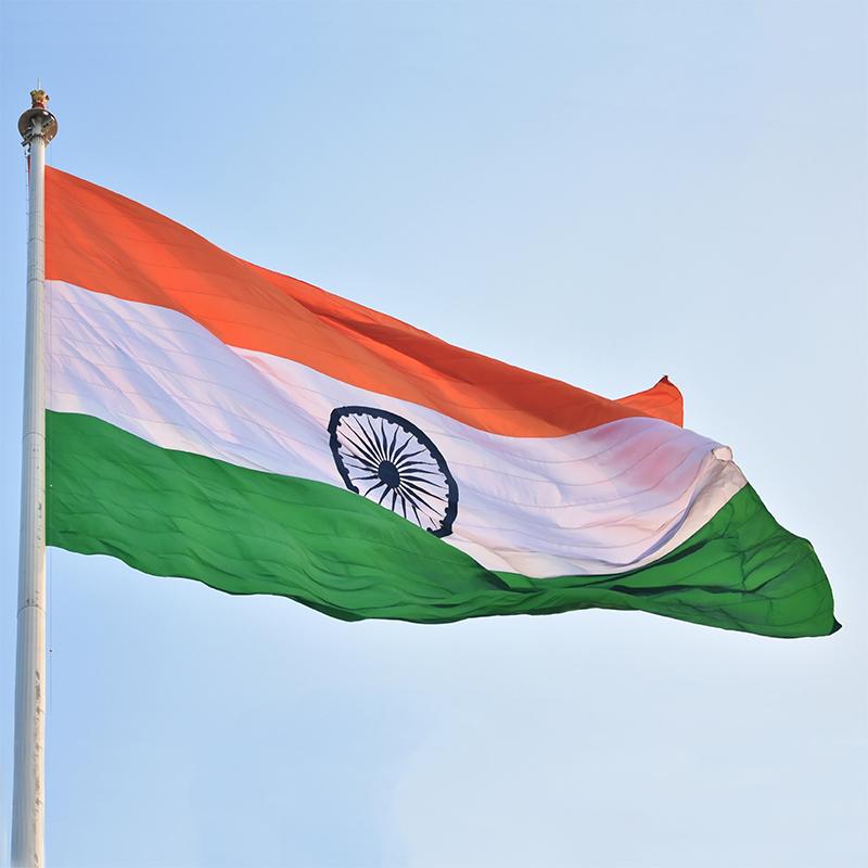 Dettaglio cima pennone con bandiera dell'India