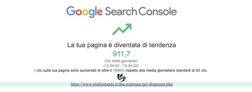 Google Search Console - Pagina di tendenza